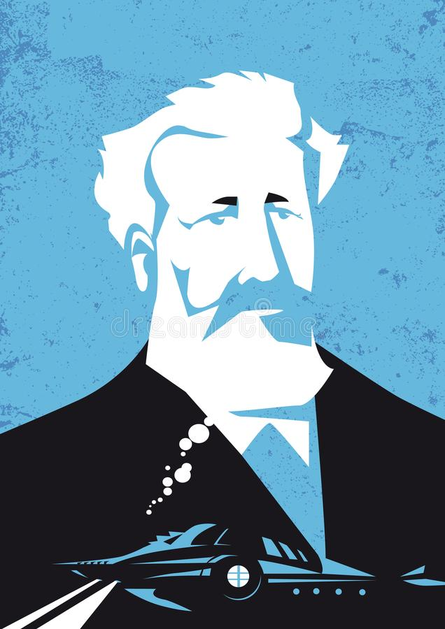 Jules Verne, vector illustration portrait vector illustration