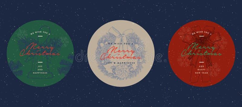 Juletiketter, baner och etiketter ställde in - i vektor stock illustrationer