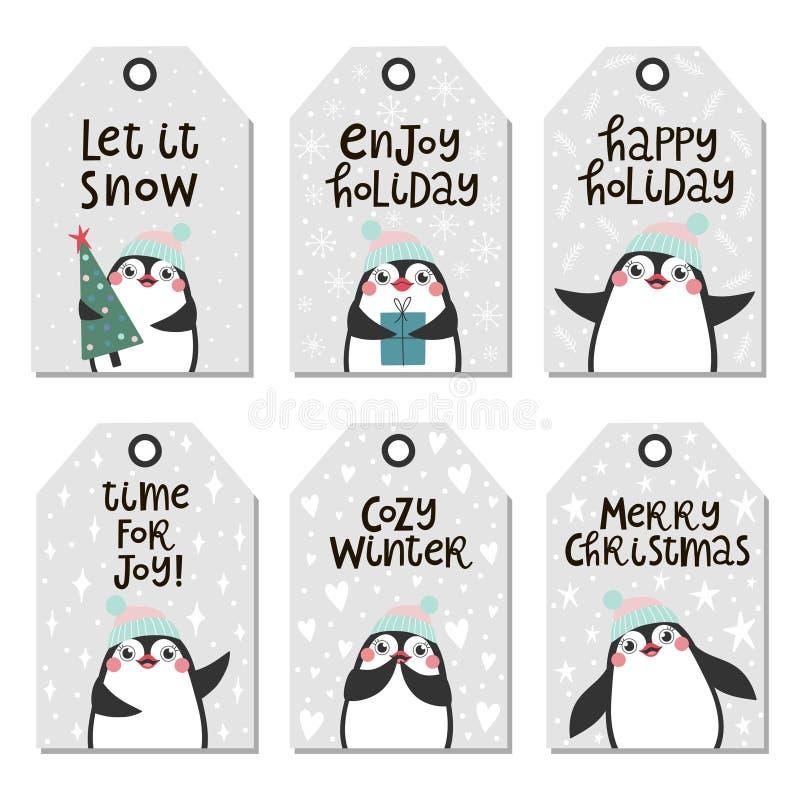 Juletiketter med gulliga pingvin royaltyfri illustrationer