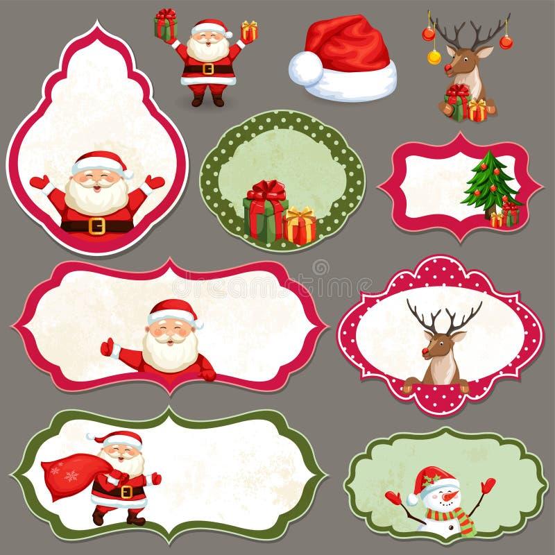 Juletikettuppsättning stock illustrationer