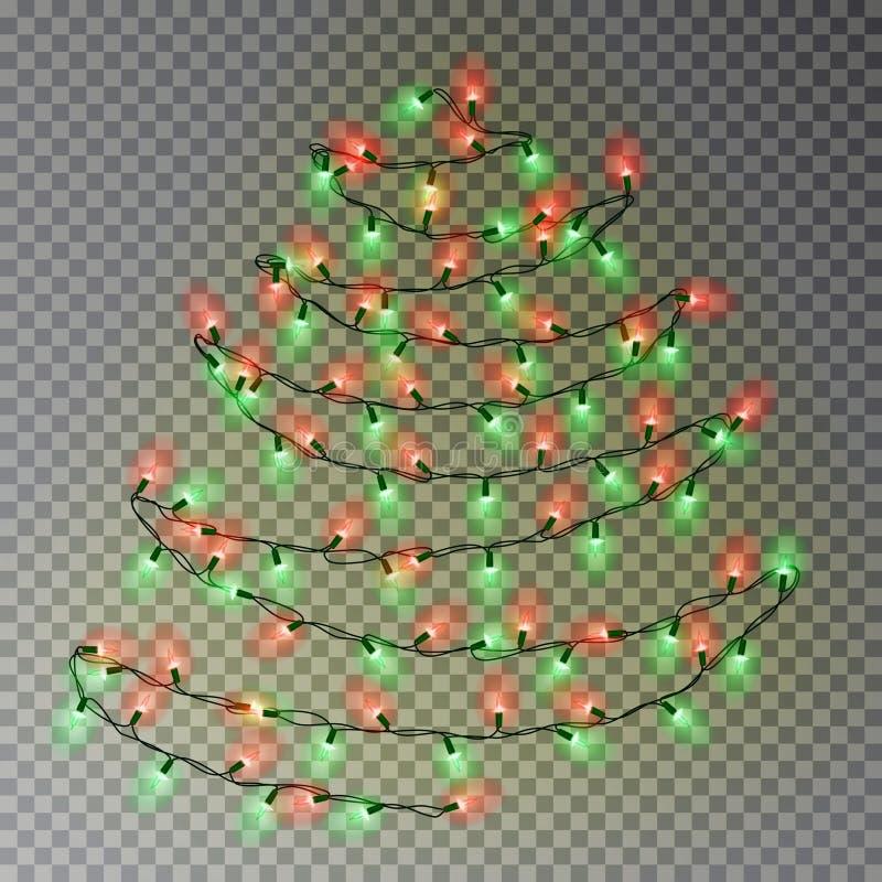 Julfärgträd av ljusrad Genomskinlig effektgarnering som isoleras på mörk bakgrund Beträffande royaltyfri illustrationer