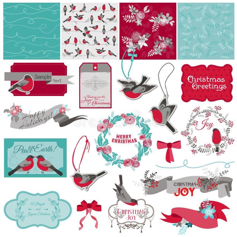 Julfågeltema vektor illustrationer