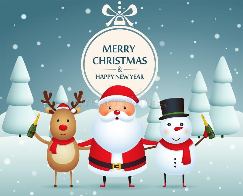 Julföljen, Santa Claus, snögubbe och ren med champagne på entäckt bakgrund med julgranar stock illustrationer