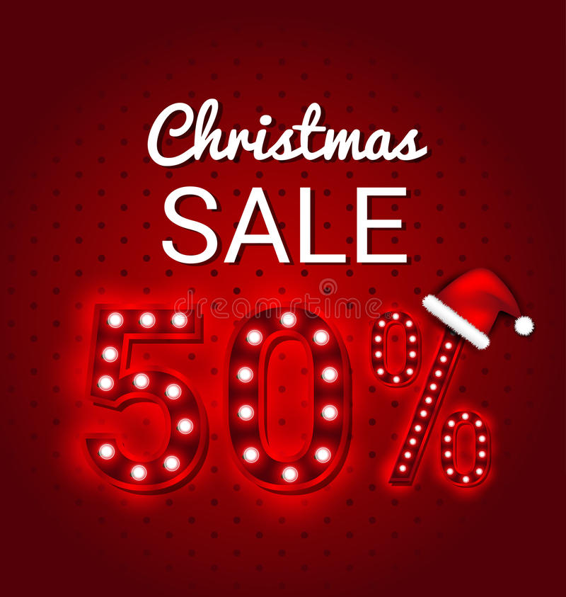 Julförsäljning 50 procent retro tecken vektor illustrationer