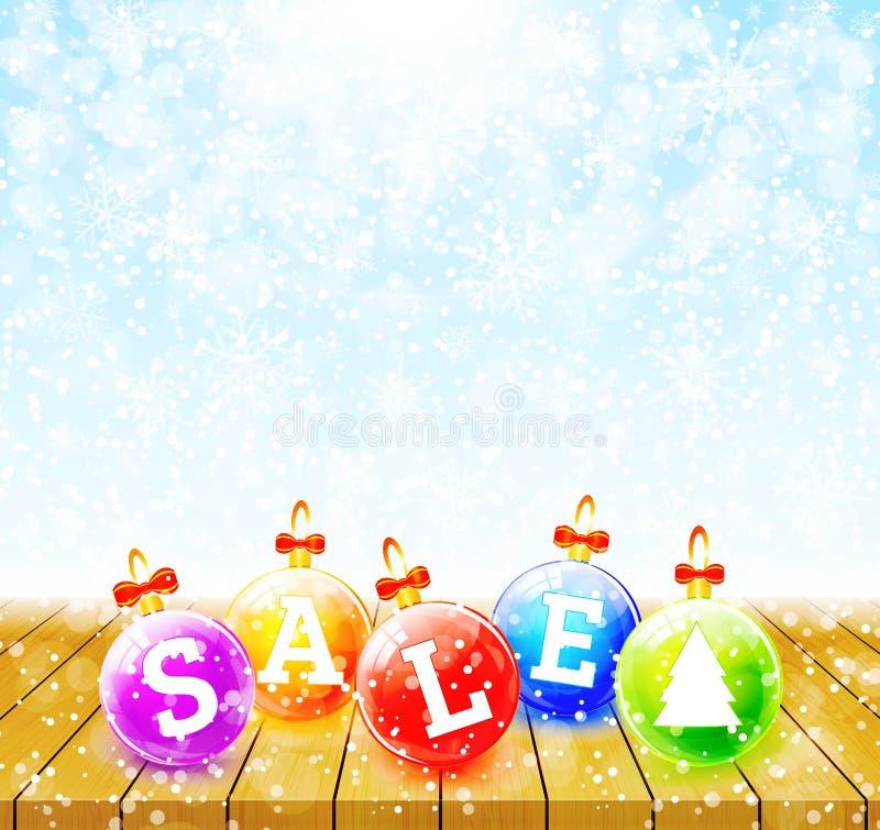 Julförsäljningen klumpa ihop sig på trätabellvektor vektor illustrationer