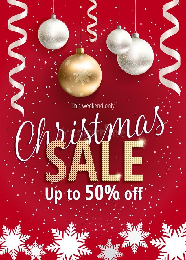 Julförsäljningen Rött baner för rengöringsduk eller reklamblad vektor illustrationer