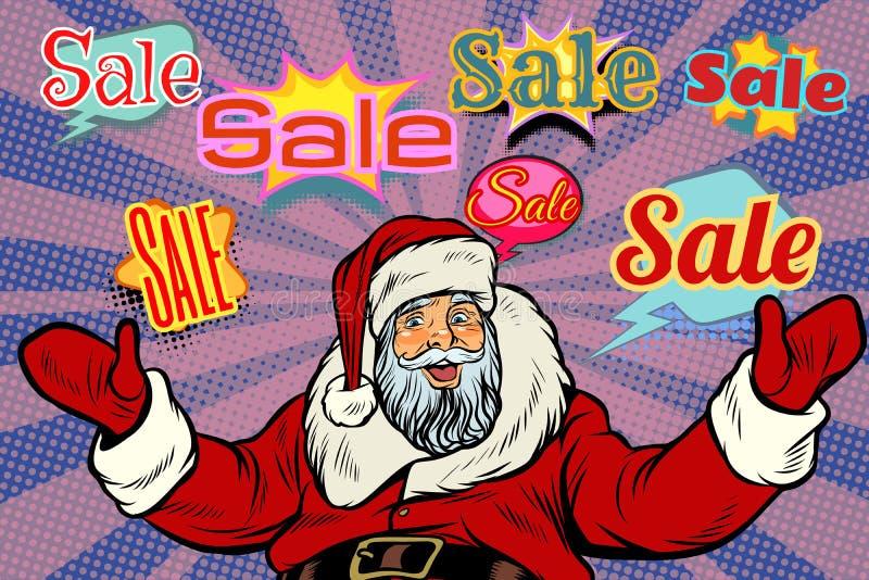 Julförsäljningsbakgrund med Santa Claus stock illustrationer