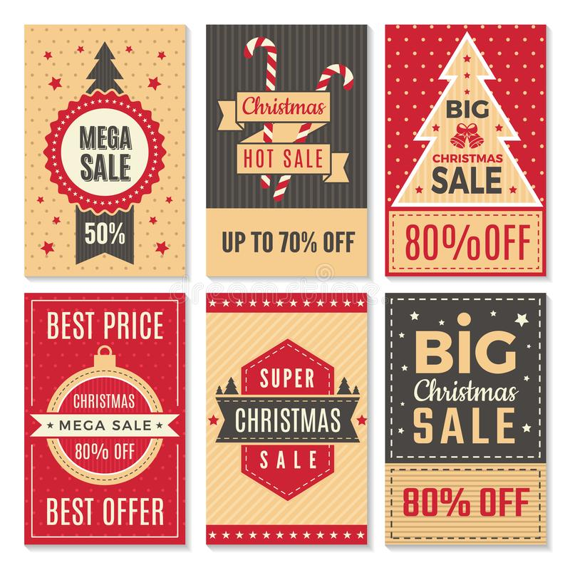 Julförsäljningsbaner Mall för vektor för kupong för speciala erbjudanden för nytt år och för rabattavtalsetiketter royaltyfri illustrationer