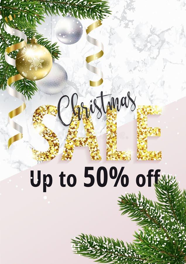 Julförsäljningsbanret Marmor och guld stock illustrationer