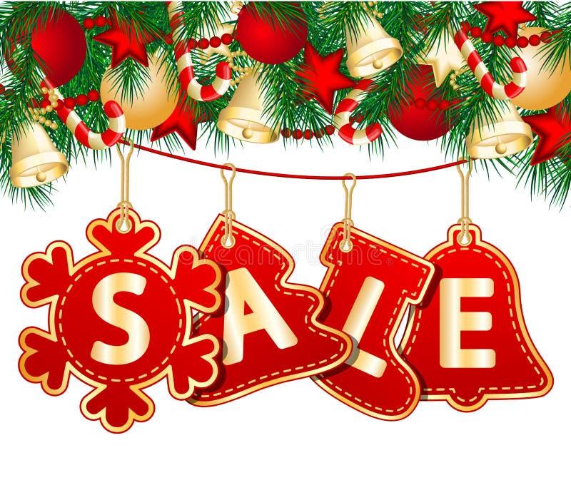 Julförsäljningsetiketter royaltyfri illustrationer