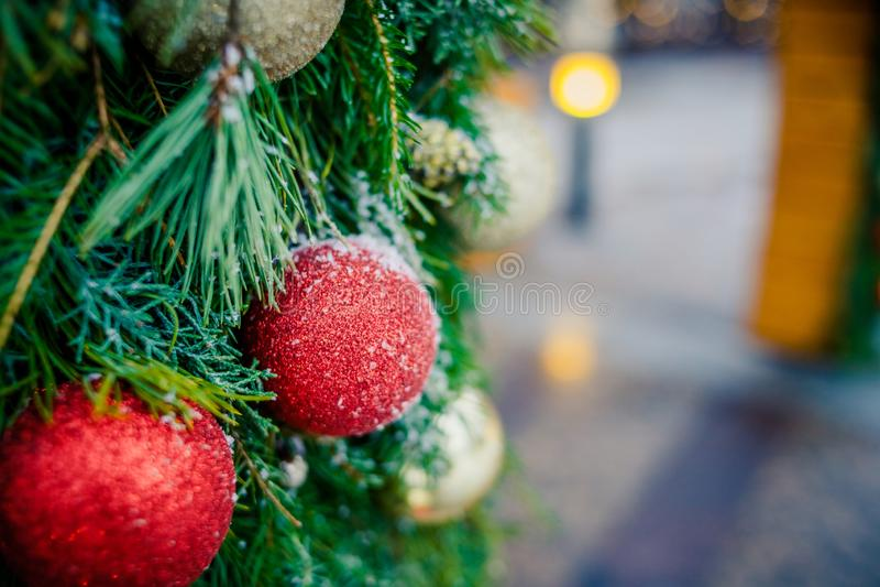 Julfamiljatmosfär Den röda guld- julprydnaden som hänger på en täckt frost, sörjer trädet utomhus med kopieringsutrymme royaltyfria bilder