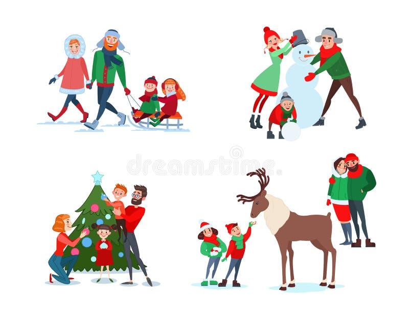 Julfamiljplatser Fader-, moder- och sondanandesnögubbe Ungar som matar renen jul som dekorerar stamträd vektor illustrationer