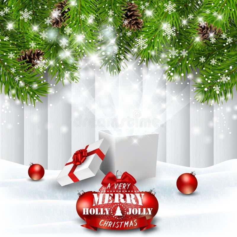 Julferiebakgrund med den magiska gåvaasken vektor illustrationer