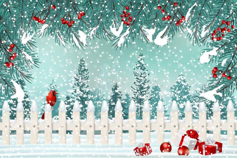 Julferiebakgrund med det fick- staketet, kardinalen, granfilialer och gåvor i snö royaltyfri illustrationer