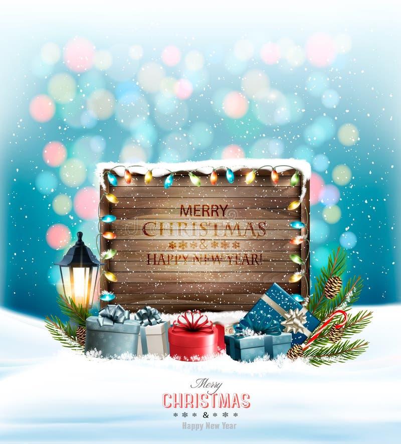 Julferiebakgrund med gåvor och trätecknet stock illustrationer