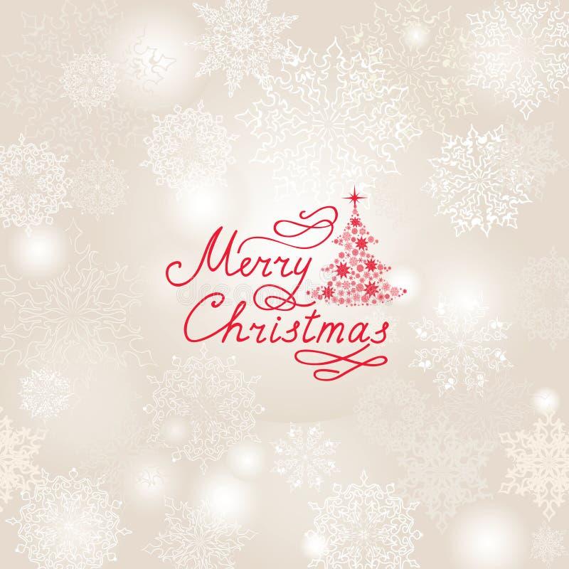 Julferiebakgrund med snö flagar, julgran, H vektor illustrationer