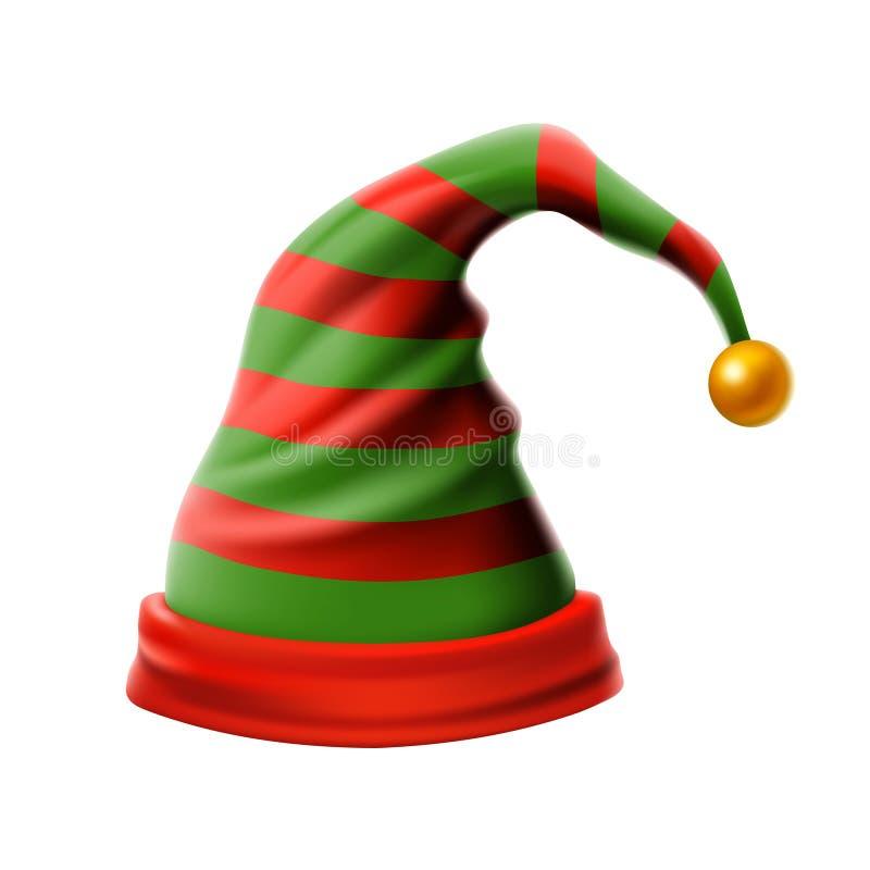 Julferiehatt 3D, den skraj röda och gröna för julvektor för avriven tecknad film vektorn för älva isolerade hatten, lurar älvahat stock illustrationer