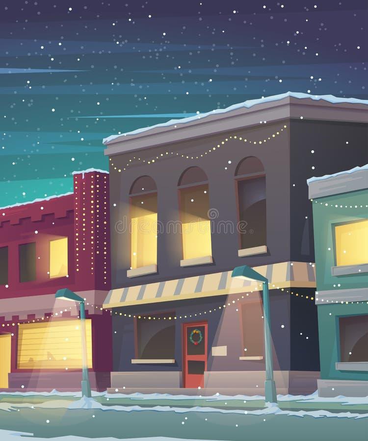 Julferiekort Stad i snöig väder Hälsningkort med sagahus royaltyfri illustrationer