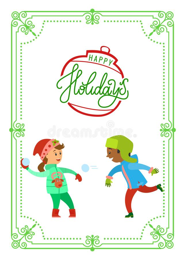Julferier av att spela för barn kastar snöboll vektor illustrationer