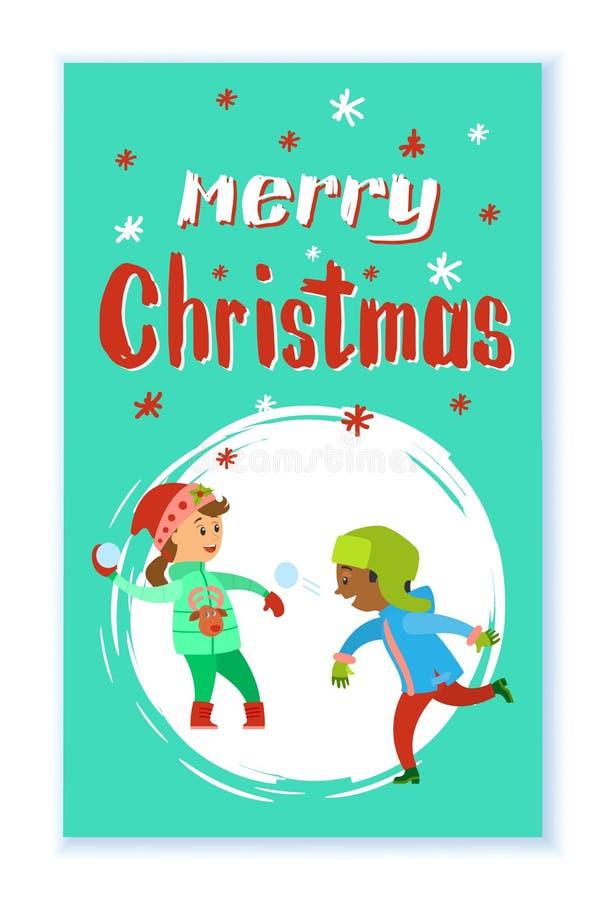 Julferier av att spela för barn kastar snöboll royaltyfri illustrationer