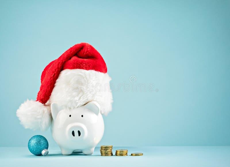 Julferiespargris som bär den santa hatten fotografering för bildbyråer