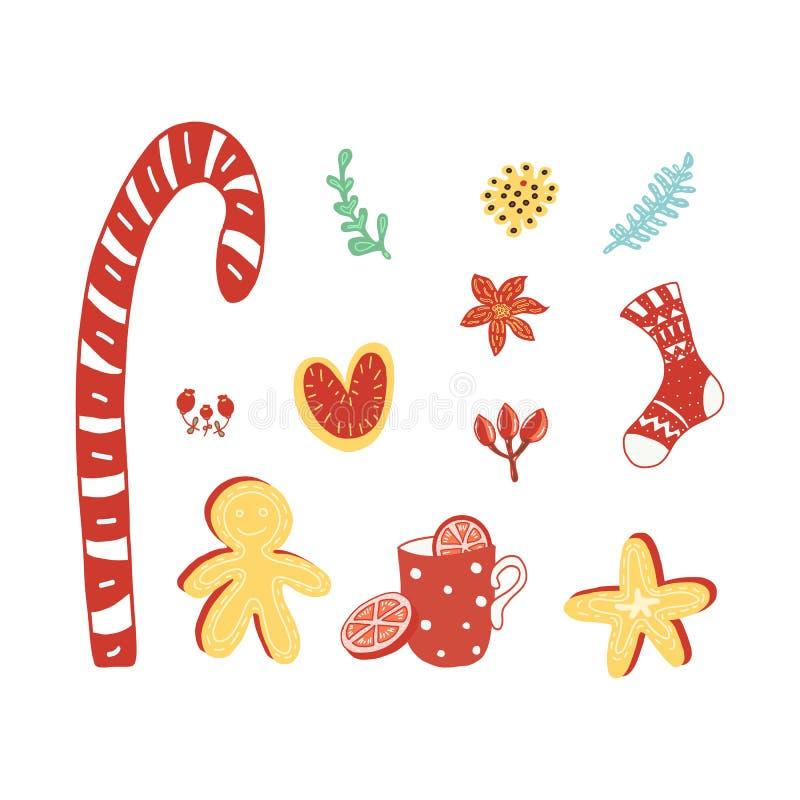 Julferieuppsättning av sötsaker royaltyfri illustrationer