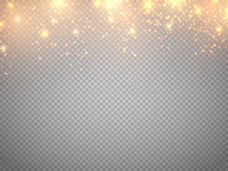Julfilial och klockor Vektorguld blänker partikelbakgrundseffekt Stupade glödmagistjärnor vektor illustrationer
