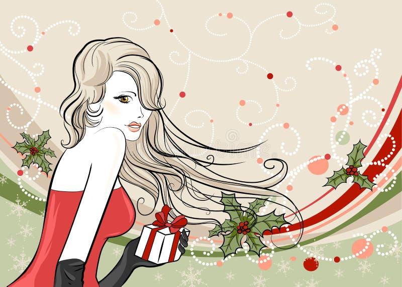 julflicka stock illustrationer