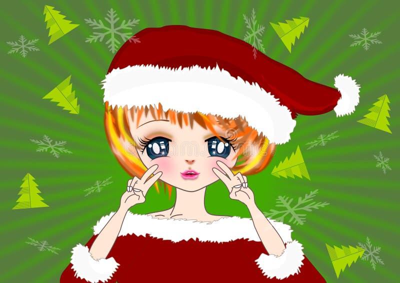 Julflicka och garneringillustrationbakgrund stock illustrationer
