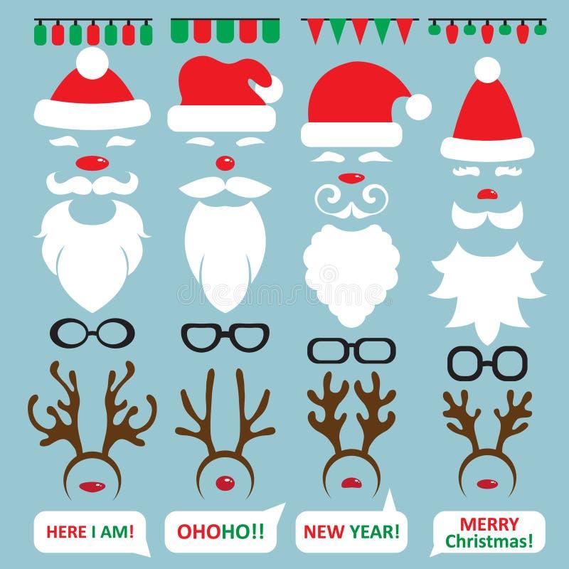 Julfotobås och scrapbooking vektoruppsättning stock illustrationer