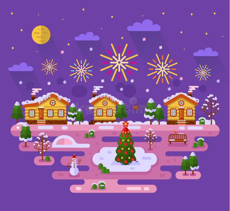 Julfyrverkerier vektor illustrationer