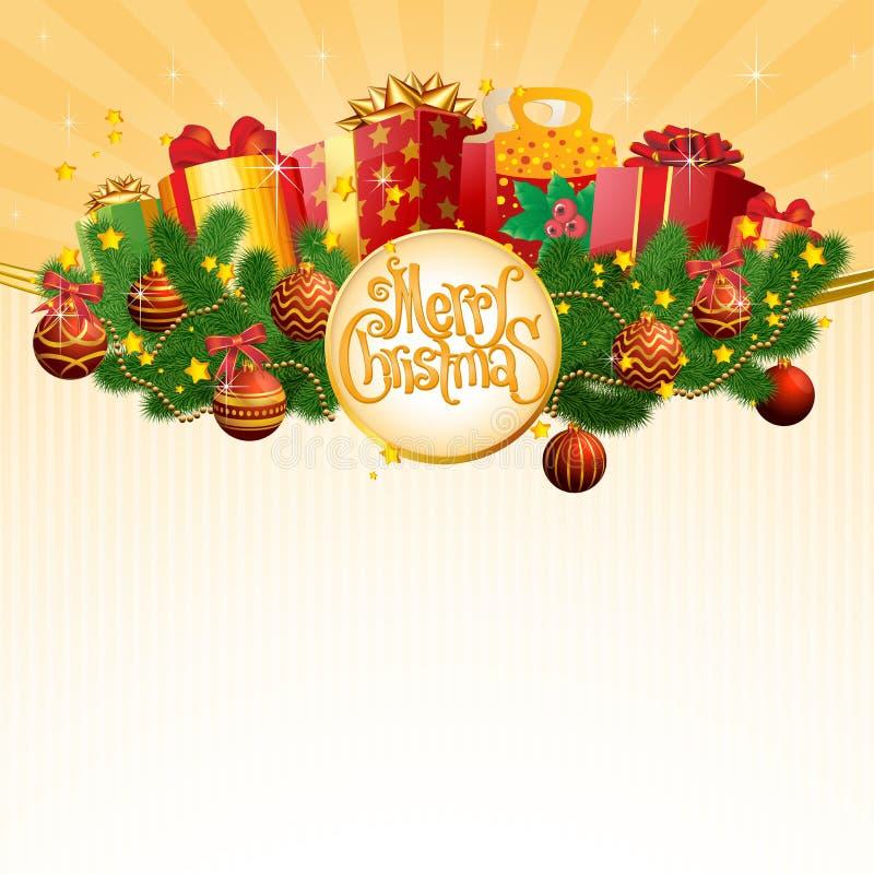 Julgåva i dekorerade askar stock illustrationer