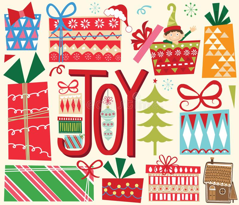 Julgåvabeståndsdelar stock illustrationer