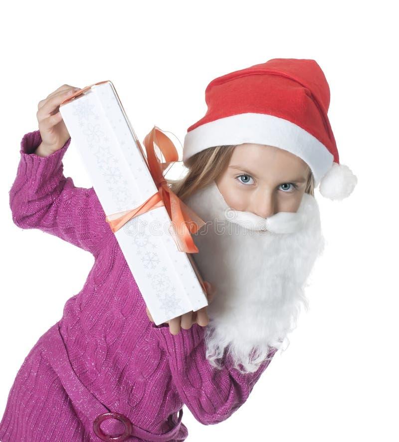 julgåvaflicka little arkivfoto