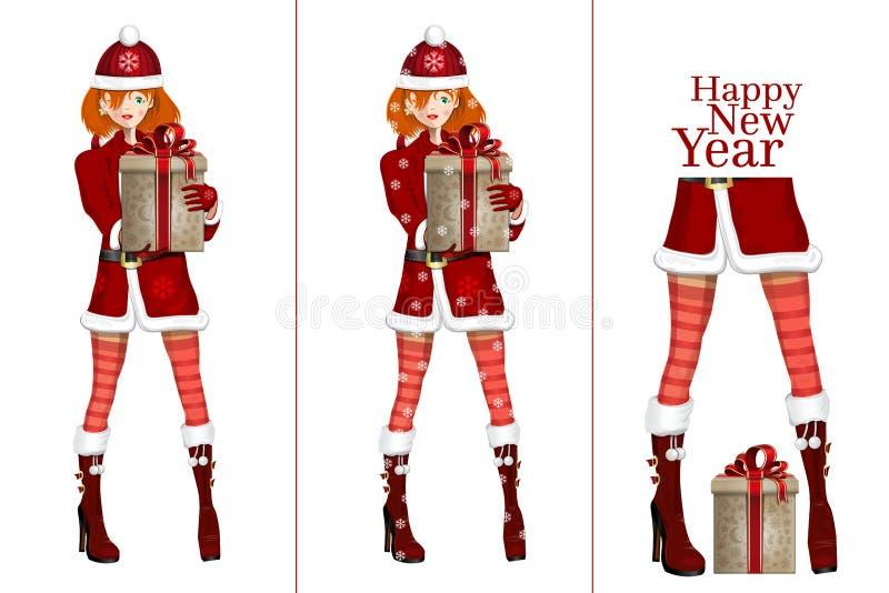 julgåvaflicka santa vektor illustrationer
