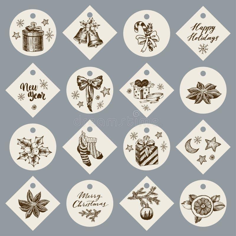 Julgåvakort eller etiketter med bokstäver design tecknad elementhand vektor gåvor klockor godis, pilbåge, hjärta, krydda royaltyfri illustrationer