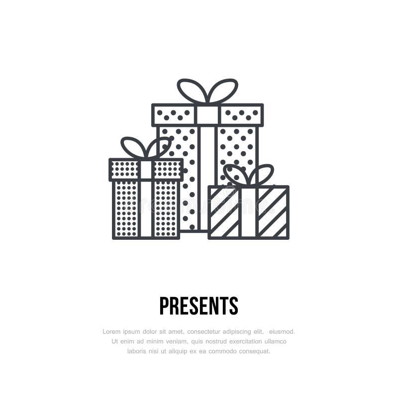 Julgåvor, gåvor för nytt år som framlänges förpackar linjen symboler Illustration för vektor för vinterferier, tecken för beröm royaltyfri illustrationer