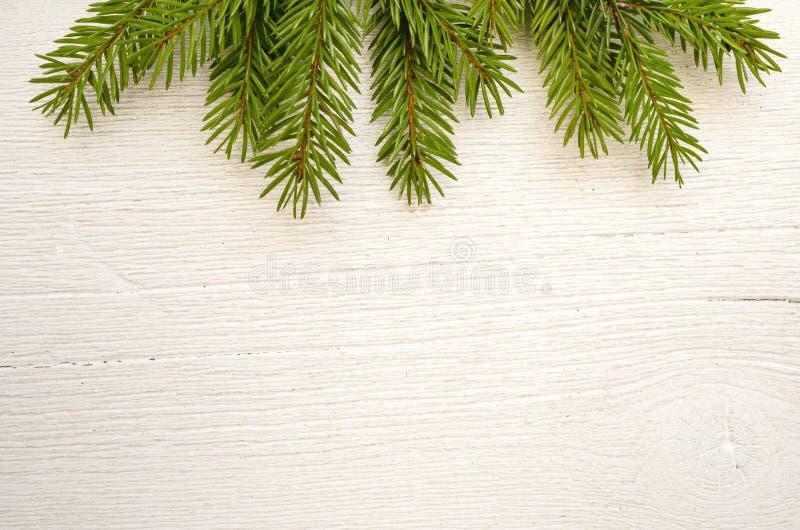 Julgåvor, granträdfilialer på den vita trätabellen, bakgrund för julsammansättning för bauble blått exponeringsglas Lekmanna- läg royaltyfri fotografi