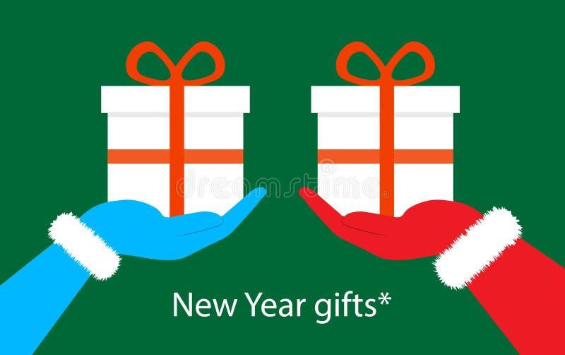 Julgåvor i handen av Santa Claus vektor illustrationer