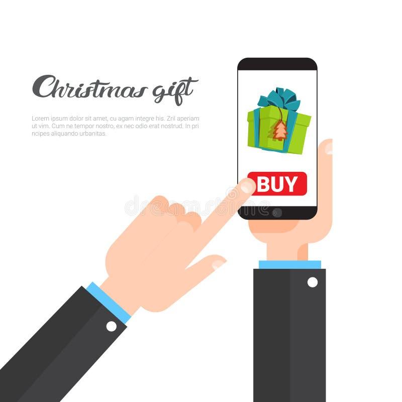 Julgåvor som shoppar för Smart för begreppshandinnehav gåvor för köpande telefon på online-mallbaner för nytt år med kopian stock illustrationer