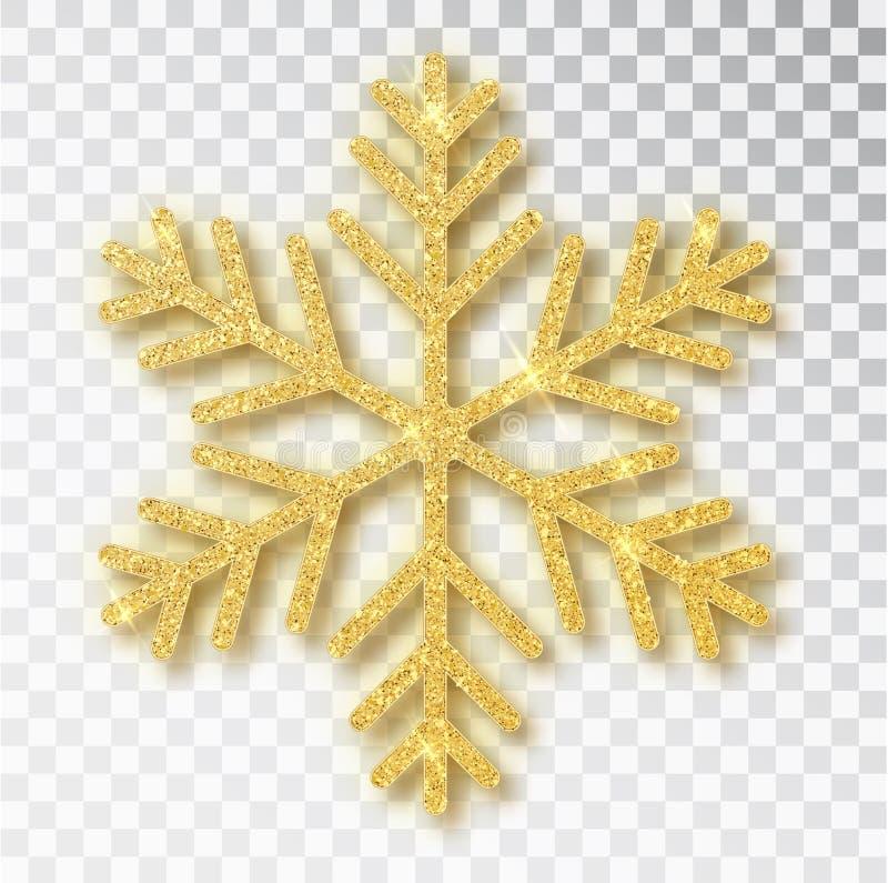 Julgarnering, den guld- sn?flingan t?ckte ljust bl?nker, p? genomskinlig bakgrund Xmas smyckar guld- sn? med vektor illustrationer