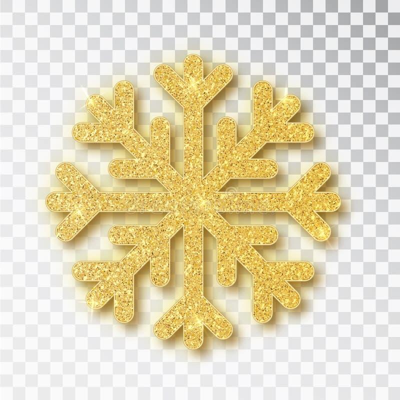 Julgarnering, den guld- sn?flingan t?ckte ljust bl?nker, p? genomskinlig bakgrund Xmas smyckar guld- snö med royaltyfri illustrationer