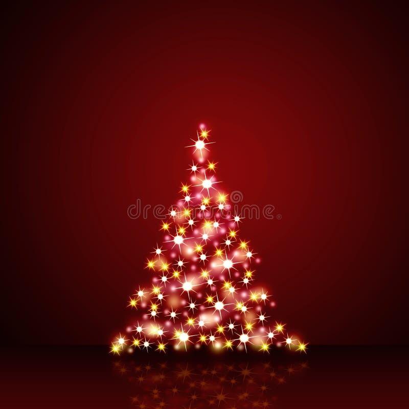 Julgarnering i röda och guld- stjärnor vektor illustrationer