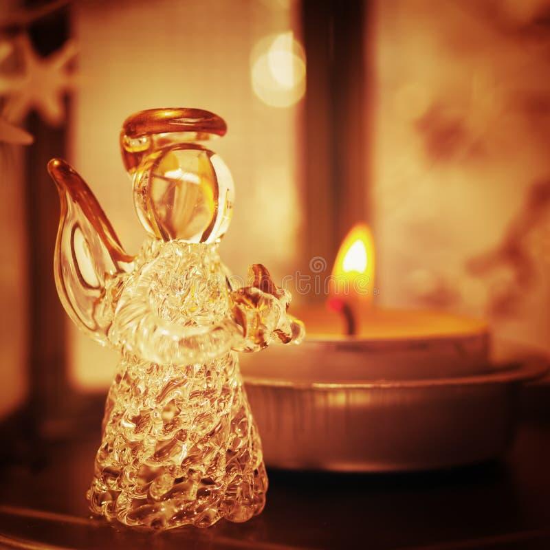 Julgarnering med ängel royaltyfria foton