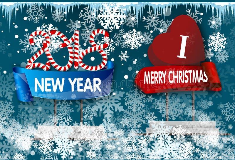Julgarnering med den hängande plattan med jul undertecknar royaltyfri illustrationer