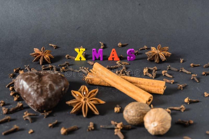 Julgarnering med kanelbruna pinnar pepparkaka och kryddor royaltyfri fotografi