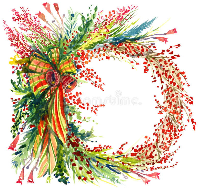 Julgarnering med sörjer trädfilialer, bär, klockor och band, cirkel, för hälsningkort vektor illustrationer