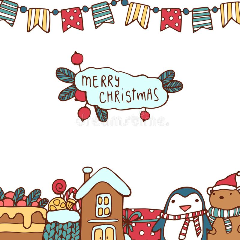 Julgarneringsamlingen av den calligraphic och typografiska designen med etiketter, symboler och symbolsbeståndsdelar räcker arkivfoto