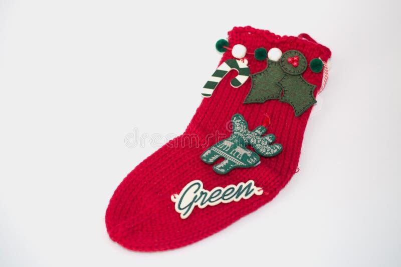 Julgarneringstrumpa Begrepp av jul- eller feriejulbakgrund med copyspace arkivbild