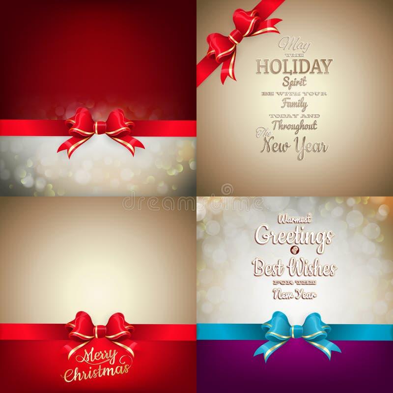 Julgarneringuppsättning - bandpilbåge med bokeh royaltyfri illustrationer